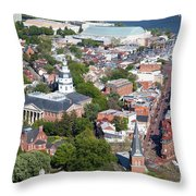 Colonial Annapolis Historic District And Maryland State House Throw Pillow
