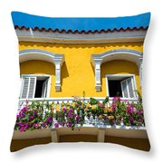 Colonial Balcony In Cartagena Throw Pillow