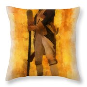 Colonial Soldier Photo Art  Throw Pillow by Thomas Woolworth
