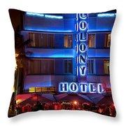Colony Hotel South Beach Throw Pillow