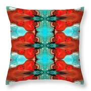 Color Chant - Red And Aqua Pattern Art By Sharon Cummings Throw Pillow