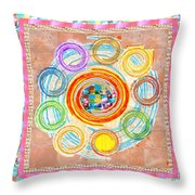 Color Circles Crystal Stones Borders Chakra Energy Healing Throw Pillow