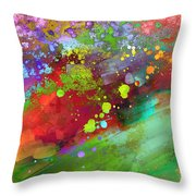 Color Explosion Abstract Art Throw Pillow by Ann Powell
