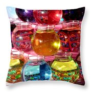 Color Fish Bowls Throw Pillow