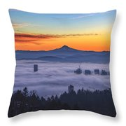 Color Fog Mountain Throw Pillow