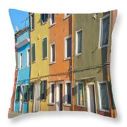 Color Houses In Row Throw Pillow