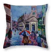 Color In The Rain Throw Pillow