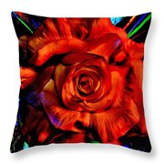 Color Intensive Rose Throw Pillow