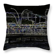 Color Pencil - Visitors On Viewing Plaza On Singapore River Next To The Merlion Throw Pillow