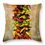Color Peppers From Spain With Textured Background Dsc01467 Throw Pillow