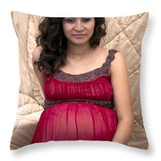 Color Portrait Young Pregnant Spanish Woman I Throw Pillow
