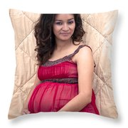 Color Portrait Young Pregnant Spanish Woman II Throw Pillow
