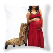 Color Portrait Young Pregnant Spanish Woman Leaning On Chair Throw Pillow