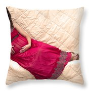 Color Portrait Young Pregnant Spanish Woman Reclining Throw Pillow