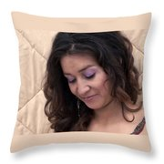 Color Portrait Young Spanish Woman II Throw Pillow