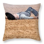 Color Rodeo Gunslinger Victim Throw Pillow