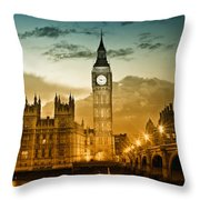 Color Study London Houses Of Parliament Throw Pillow by Melanie Viola