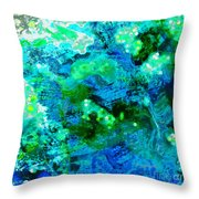 Color Wash Abstract In Blue Throw Pillow