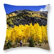 Colorado Autumn Hike Throw Pillow