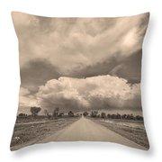 Colorado Country Road Sepia Stormin Skies Throw Pillow