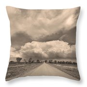 Colorado Country Road Sepia Stormin Skies Throw Pillow
