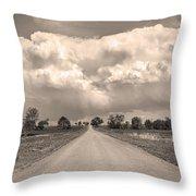 Colorado Country Road Stormin Sepia  Skies Throw Pillow