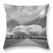 Colorado Country Road Stormin Skies Bw Throw Pillow