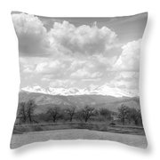 Colorado Front Range Rocky Mountains Panorama Bw Throw Pillow