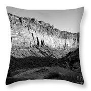 Colorado River Cliff Bw Throw Pillow