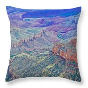 Colorado River From Walhalla Overlook On North Rim Of Grand Canyon-arizona Throw Pillow