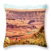 Colorado River One Mile Below And 18 Miles Across The Grand Canyon  Throw Pillow