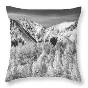 Colorado Rocky Mountain Autumn Magic Black And White Throw Pillow