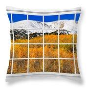 Colorado Rocky Mountain Autumn Pass White Window View  Throw Pillow