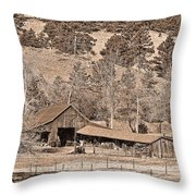 Colorado Rocky Mountain Barn Sepia Throw Pillow