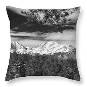 Colorado Rocky Mountain View Black And White Throw Pillow