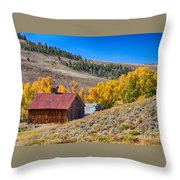 Colorado Rustic Rural Barn With Autumn Colors  Throw Pillow