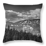 Colorado Ski Slopes In Black And White Throw Pillow