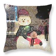 Colorado Snowman Family 1 12 2011 Throw Pillow