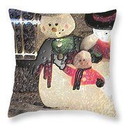 Colorado Snowman Family 2 12 2011 Throw Pillow