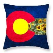 Colorado State Flag In Van Gogh Throw Pillow