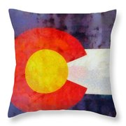 Colorado State Flag Weathered And Worn Throw Pillow