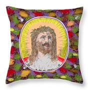 Colored Background Jesus Throw Pillow