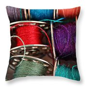 Colored Bobbins - Seamstress - Quilter Throw Pillow