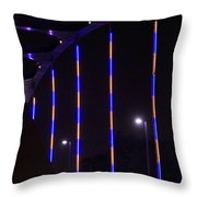 Colored Bridge At Night Throw Pillow