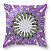 Colored Foil Lily Kaleidoscope Under Glass Throw Pillow
