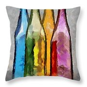 Colored Glass Bottles Throw Pillow