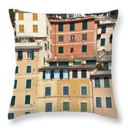 Colored Italian Facades Throw Pillow
