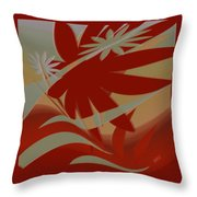 Colored Jungle Red Throw Pillow