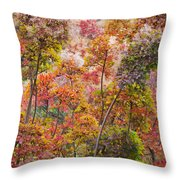 Colored Pallet Smoke Trees Throw Pillow