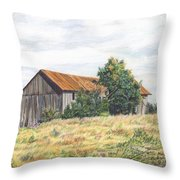 Colored Pencil Barn Throw Pillow